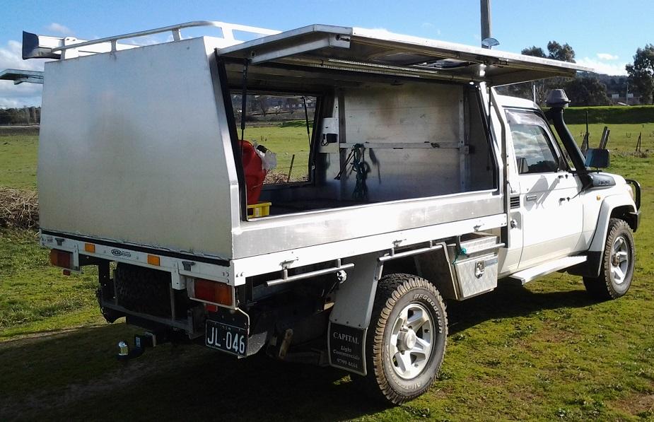 Aluminum Truck Canopy : Mill finish aluminium canopy on landcruiser simmons